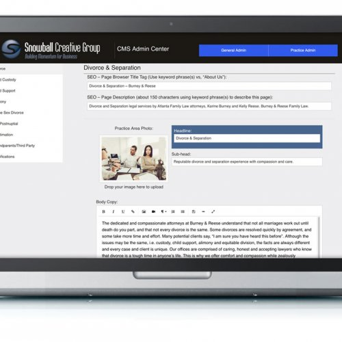 Admin Content Page Design